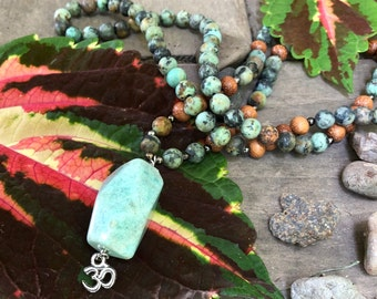 Soul Purpose Mala Necklace | African Jasper | Amazonite | Madre De Cacao | Om | Reiki Infused Mala Beads | Inspiration | Hope | Fulfillment