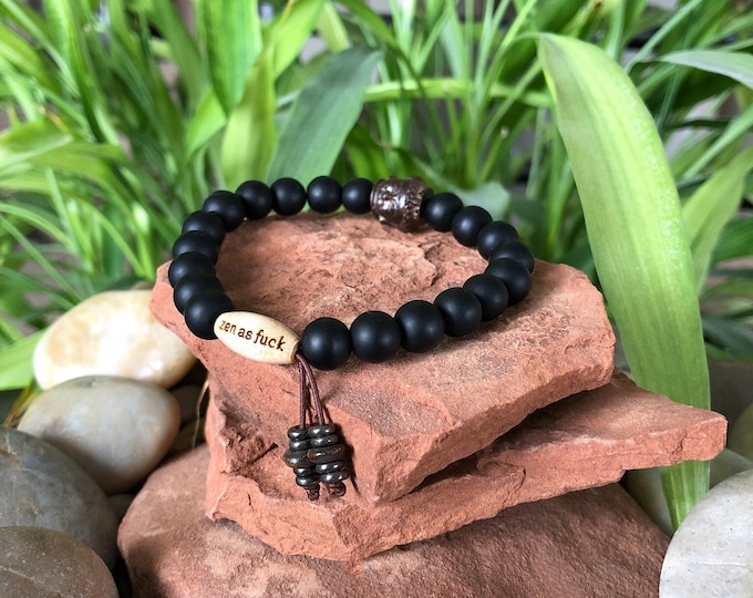 Featured listing image: Men's Matte Onyx Zen as F#ck Mala Bracelet | Frosted Black Onyx | Wrist Mala | Mala Beads | Reiki | Confidence | Strength | Protection