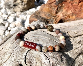 Men's Old Soul Mala Bracelet | AAA Laguna Lace Agate | Red Carnelian | Balances All Chakras | Restores Trust in the Universe | Alignment