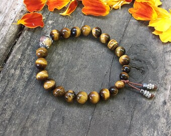 Personal Power Mala Bracelet | Luxury Tigers Eye Mala Beads | Monk Handmade Gold Dipped Clay Bead | Will Power | Personal Strength