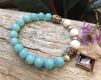 Dharma Turn the Page Mala Bracelet | Luxury Amazonite Gemstones | Magnesite | Surprise Affirmation Scroll | Reiki Healing | Self Love | Luck