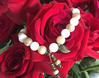 Healing Heart Mala Bracelet | Mother of Pearl | White Onyx | Reiki Infused Luxury Mala Beads | Heals Heart | Comfort | Relationship Harmony