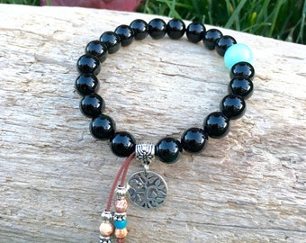 Raven Mala Bracelet | Exotic Obsidian | AAA Amazonite | Mala Beads | Tree of Life | Yoga | Reiki Infused | Strength | Abundance | Protection