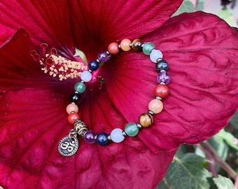 Chakra Om Mala Bracelet | Luxury Gemstones to Heal Each Chakra | Reiki Infused Mala Beads | Balance | Stability | Centering