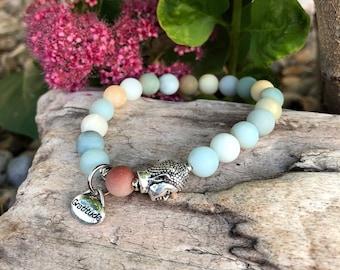Abundance of Gratitude Mala Bracelet   Frosted Multi Amazonite   Luxury Gemstone Mala Beads   Reiki Healing   Communication   Abundance