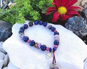 Starseed Mala Bracelet | Luxury Gemstones | Genuine Ruby | Russian Charoite | Lapis Lazuli | Amethyst | .925 Sterling Silver Alien Charm