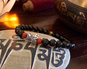 Men's Dragon Mala Bracelet | Mala Beads | Black Onyx | Red Jasper | Protection | Alleviates Worry and Negative Energy | Stabilizes Emotions