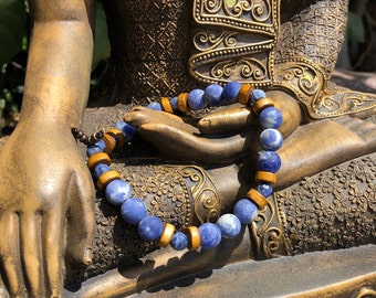NEW! Men's Lucid Bracelet | Matte Sodalite Gemstones | Coconut Shell | Clarity | Clear Mind | Self Expression | Eases Anxiety Panic Attacks