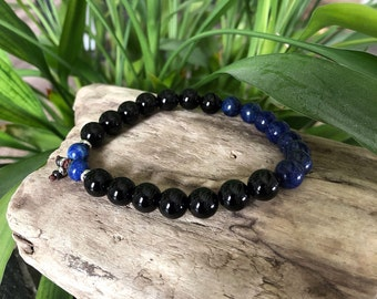 Men's Peace and Protection Mala Bracelet | Luxury Natural Gemstone Beads | Blue Lapis Lazuli | Black Onyx | Harmony | Strength | Inner Peace