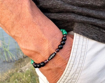 Men's Zen as F#ck Mala Bracelet | Natural Green Malachite | Black Onyx | Garnet | Increased Energy | Powerful Spiritual Transformation