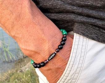 Men's Zen as F#ck Pure Paradise Mala Bracelet | Natural Green Malachite | Black Onyx | Garnet | Increased Energy | Spiritual Transformation