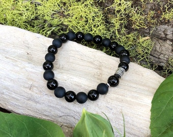 Men's Resilience Mala Bracelet | Wrist Mala | Black Onyx Mala Beads | Mani Mantra | Meditation | Yoga | Protection | Confidence | Endurance