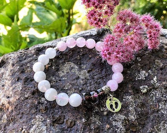 New Mother / Fertility Mala Bracelet | Luxury Mala Beads | Madagascar Rose Quartz | Moonstone | Smoky Quartz | Conception | Parenting