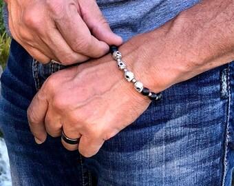 Men's Calavera Mala Bracelet | Pewter Sugar Skulls | Matte Black Onyx | Reiki Healing Mala Beads | Strength | Grounding | Protection