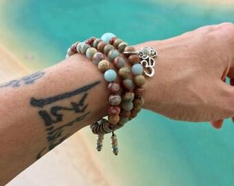 Aqua Peace Triple Wrap Mala Bracelet | AAA Aqua Terra Jasper Gemstones | Mala Beads | Om | Buddha | Heals Emotional Wounds | Tranquility