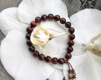 Motivation Mala Bracelet | Luxury AAA Grade Red Tigers Eye Gemstones | Reiki Infused Mala Beads | Vitality | Drive | Inspiration | Passion