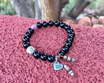 Deep Zen Mala Bracelet | Spiritual Healing Mala Beads | Obsidian | Pink Tourmaline | Hematite Buddha | Peace | Contentment | Protection