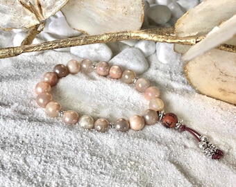 Moonlight Mala Bracelet | Peach Moonstone | Reiki Infused Mala Beads | Releases Tension | Clairvoyance | Intuition | Balances Emotions