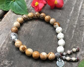 Soothing Mala Bracelet   Luxury Mala Beads   Picture Jasper   Howlite   Lotus   Yoga Bracelet   Reiki   Comfort    Reduces Self Criticism