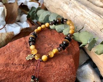 NEW! Bold & Brave Mala Bracelet | Golden Tigers Eye | Shungite | Smoky Quartz | Hamsa Hand | Luxury Mala Beads | Confidence | Personal Power
