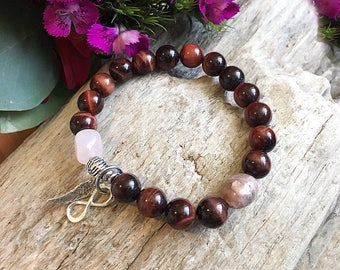 Soulmate Mala Bracelet | Twin Flame | Mala Beads | Red Tigers Eye | Rhodonite | Rose Quartz | .925 Sterling Silver Charms | Love | Passion