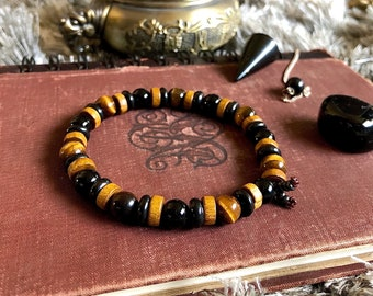 Men's Higher Guidance Mala Bracelet | Rare Black Shungite | Black Onyx | Tigers Eye | Coconut Shell | Confidence | Clears Energy Imbalances