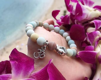 Abundance Om Mala Bracelet | AA Frosted Amazonite Mala Beads | Reiki Healing | Attracts Abundance | Eases Worry | Enhances Communication