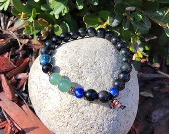 Men's New Opportunity Mala Bracelet | Luxury Rainbow Obsidian | Green Adventurine | Blue Lapis Lazuli | Confidence| New Beginnings | Luck