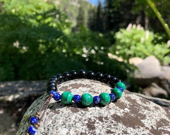 NEW! Whispering Raven Mala Bracelet | Black Tourmaline | Malachite | Lapis Lazuli | Luxury Gemstone Mala Beads | Self Healing | Renewal