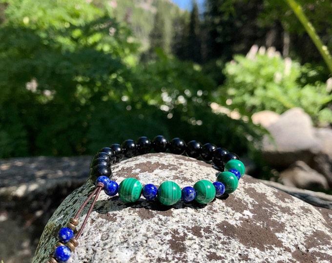 Featured listing image: NEW! Whispering Raven Mala Bracelet | Black Tourmaline | Malachite | Lapis Lazuli | Luxury Gemstone Mala Beads | Self Healing | Renewal