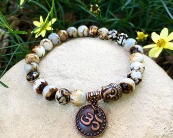 Tashi Om Mala Bracelet | Unique Mala Beads | Wood Grain Agate | Meditation | Reiki Infused | Health | Harmony | Acceptance | Awareness