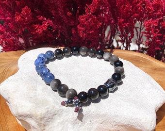 NEW! Men's Universal Truth Mala Bracelet | Silver Sheen Obsidian | Sodalite | Hematite | Communication | Soul Healing | Deep Truths | Magic