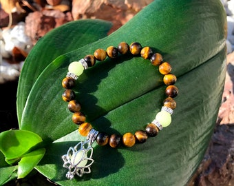 Kid's Glow in the Dark Confidence Mala Bracelet | Luxury Tigers Eye Gemstones | Glow Lotus Charm | Courage | Self Esteem | Mental Clarity