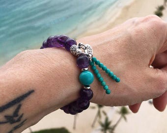 Mystic Mala Bracelet | AAA Grade Amethyst | Natural Turquoise | Yoga Jewelry | Mala Beads | Wrist Mala | Clarity | Awareness | Sleep