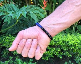 Men's Peace and Protection Mala Bracelet | Natural Gemstone Beads | Blue Lapis Lazuli | Black Onyx | Eases Depression | Harmony | Strength