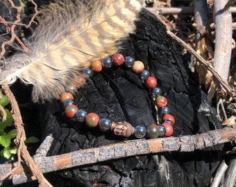 Men's Grounding II Mala Bracelet | Picasso Jasper | Hematite | Bronze Buddha | Mala Beads | Dissoves Anxiety | Helps Overcome Addictions