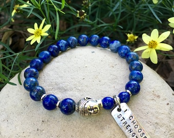 I Choose Strength Mala Bracelet | Beautiful Lapis Lazuli Gemstones | Reiki Mala Beads | Communication | Confidence | Eases Depression