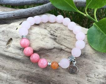 Light & Love Mala Bracelet | Gemstone Mala Beads | Pink Jade | Rose Quartz | Orange Adventurine | Healing | Comfort | Unconditional Love