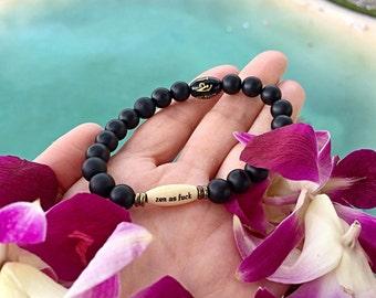 Unisex Zen As F#ck Mani Bracelet | Matte Black Onyx | Om Mani Padme Hum Mantra | Reiki Mala Bracelet | Mala Beads | Confidence | Strength