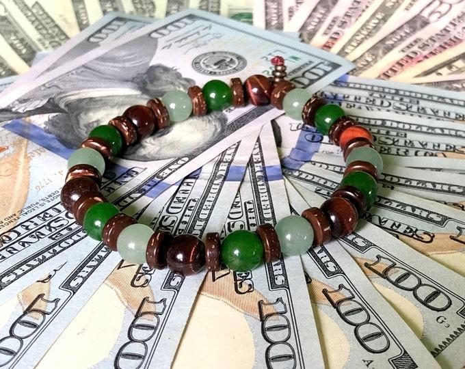 Featured listing image: NEW! Men's Love & Money Mala Bracelet   Jade   Adventurine   Red Tigers Eye   Polished Coconut Shell   Prosperity   Wealth   Opportunities