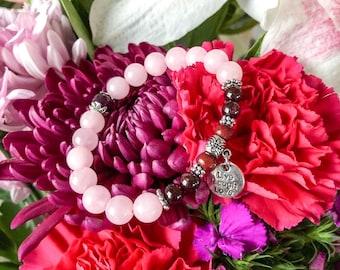 Passionate Love Mala Bracelet | Madagascar Rose Quartz | Brazilian Red Garnet | Rosewood | Live Laugh Love | True love | Joy | Passion