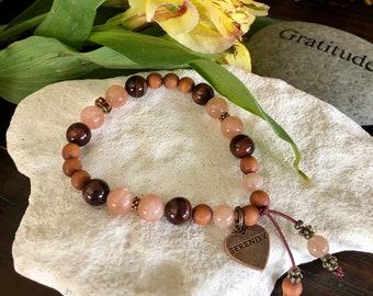 NEW! Serenity Soul Mala Bracelet   AAA Peach Sunstone   AAA Red Tigers Eye   Natural Sandalwood   Swarovski Crystals   Vitality   Hope   Joy