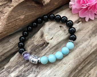 Prana Mala Bracelet | Black Onyx | Amazonite | Amethyst  | Crystal Mala Beads | Meditation | Reiki Healing | Clears Confusion | Alignment