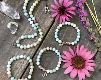 Amazonite Abundance Set of 4 Mala Bracelets | Luxury Reiki Infused Mala Beads | Yoga Bracelets | Communication | Abundance Success & Luck