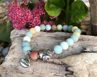 Abundance of Gratitude Mala Bracelet | Frosted Multi Amazonite | Luxury Gemstone Mala Beads | Reiki Healing | Communication | Abundance