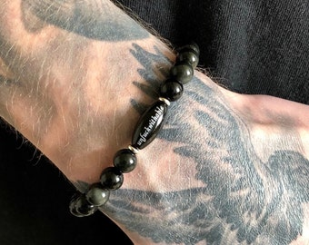 Men's Obsidian Shield Unf#ckwithable Mala Bracelet | Silver Sheen Obsidian | Tourmaline | Onyx | Strength | Blocks Anxiety & Psychic Attack
