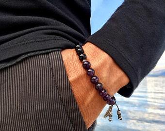 Men's Recovery Mala Bracelet | AAA Luxury Natural Gemstone Mala Beads | Amethyst | Black Onyx | Wrist Mala | Protection | Strength | Rest