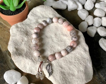 Divine Guidance Mala Bracelet | Pink Zebra Jasper | Labradorite | Angel Wing | Healing Mala Beads | True Purpose | Contentment | Uplifting