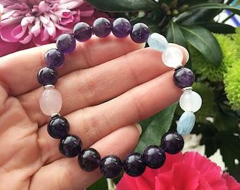 Peaceful Sleep Mala Bracelet | AAA Purple Amethyst | Selenite | Rose Quartz | Aquamarine | Reiki Infused Mala Beads | Deep Rest | Relaxation