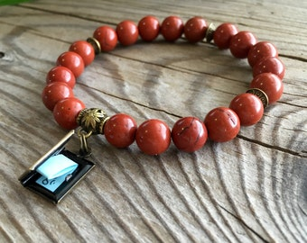 Anti-Stress Turn the Page Bracelet | Luxury Natural Red Jasper Gemstones | Mala Beads | Yoga | Reiki | Surprise Affirmation Scroll